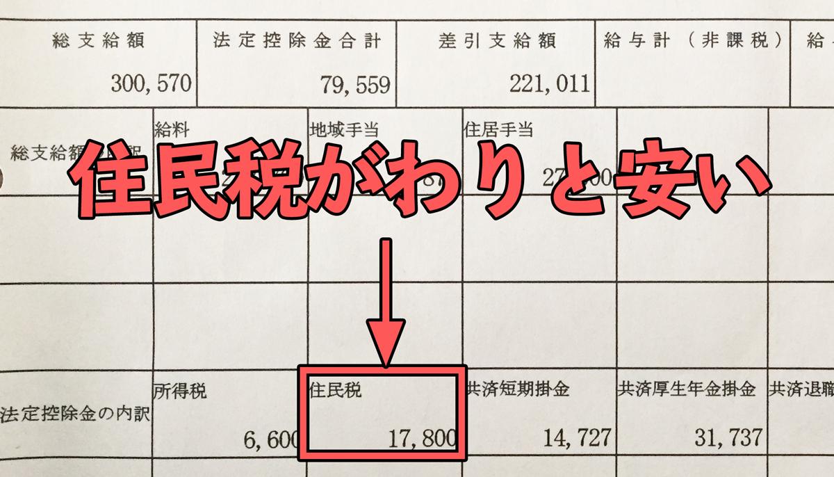 地方公務員8年目の給料明細(住民税)の画像